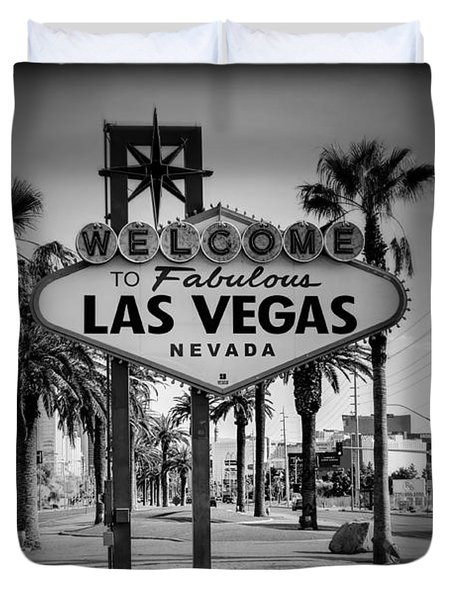 Welcome To Las Vegas Series Holga Black And White Duvet Cover