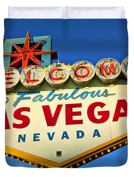 Welcome To Las Vegas Sign Duvet Cover