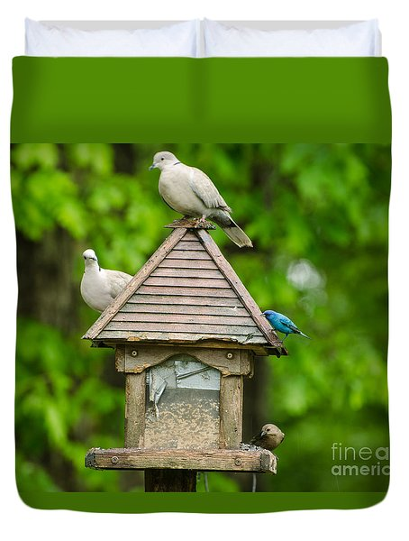 Duvet Cover featuring the photograph Welcome To My Bird Feeder by Donna Brown