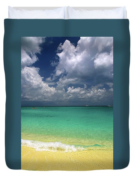 Welcome To Paradise Duvet Cover by Marie Hicks