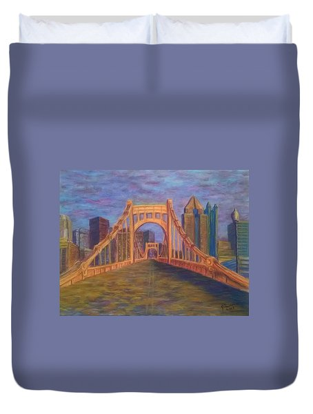 Welcome To Pittsburgh Duvet Cover by Joann Renner