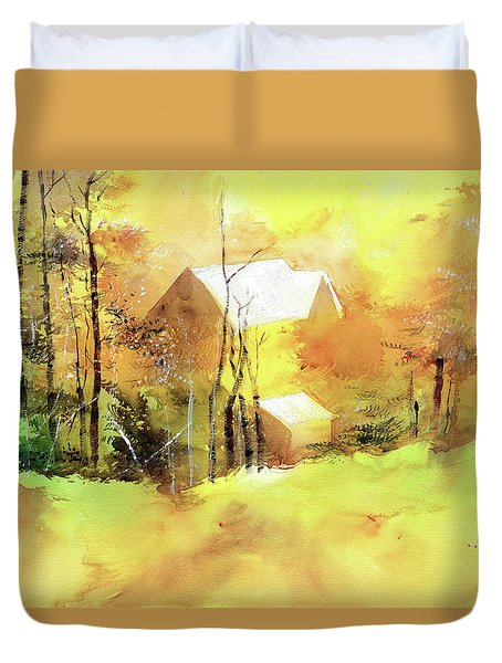 Duvet Cover featuring the painting Welcome Winter by Anil Nene