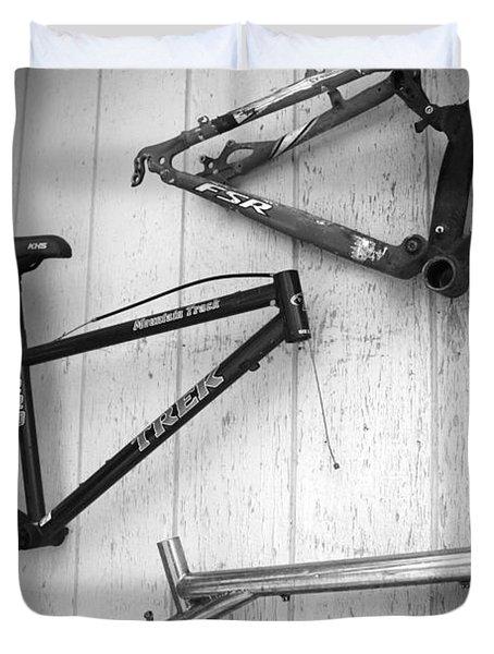 Well Worn Mountain Bike Frames Duvet Cover by Gray  Artus