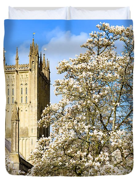Wells Cathedral And Spring Blossom Duvet Cover