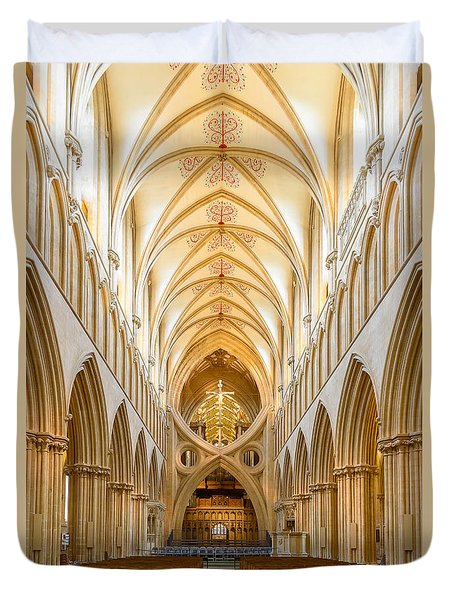 Wells Cathedral Nave Duvet Cover