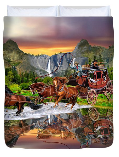 Wells Fargo Stagecoach Duvet Cover by Glenn Holbrook