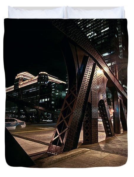 Wells Street Bridge - Chicago Duvet Cover