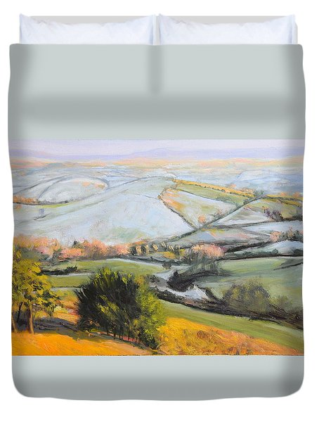 Duvet Cover featuring the painting Welsh Landscape In Winter by Harry Robertson