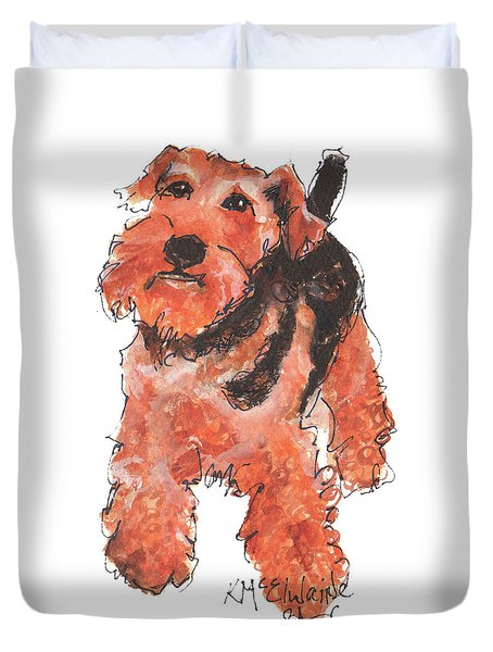 Welsh Terrier Or Schnauzer Watercolor Painting By Kmcelwaine Duvet Cover