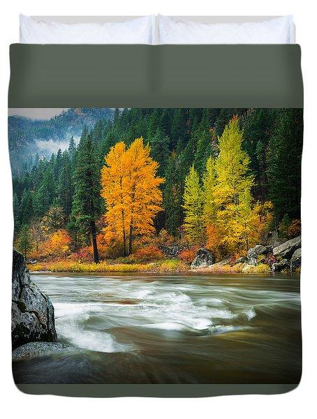 Duvet Cover featuring the photograph Wenatchee Riverside by Dan Mihai