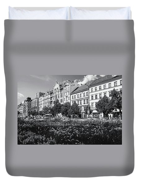 Duvet Cover featuring the photograph Wenceslas Square In Prague by Jenny Rainbow