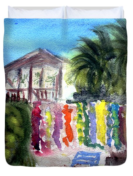 Duvet Cover featuring the painting West End Market by Donna Walsh