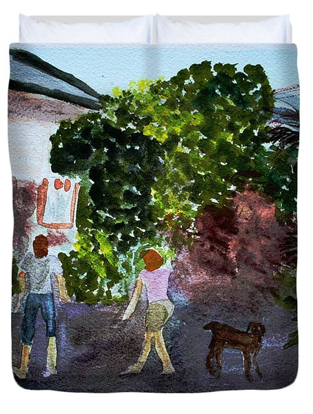 Duvet Cover featuring the painting West End Shopping by Donna Walsh