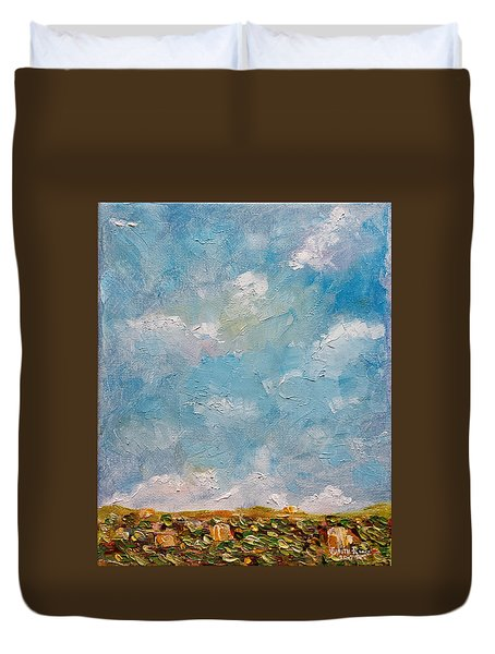 Duvet Cover featuring the painting West Field Seedlings by Judith Rhue