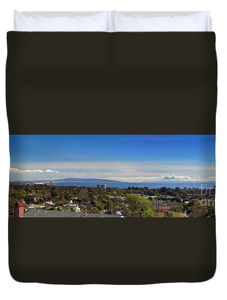 West La And Catalina Island From Pacific Palisades Duvet Cover