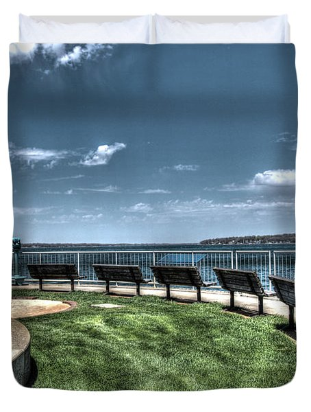 West Lake Okoboji Pier Duvet Cover