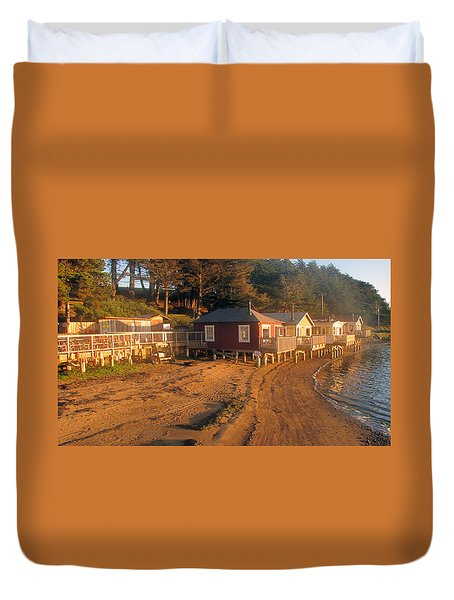 Duvet Cover featuring the photograph West Marin Nick's Cove Cottages by Dianne Levy