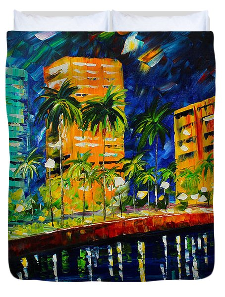 West Palm At Night Duvet Cover