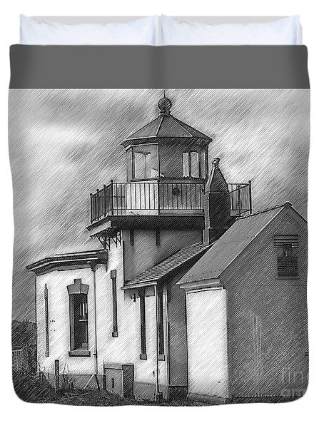 West Point Lighthouse Sketched Duvet Cover