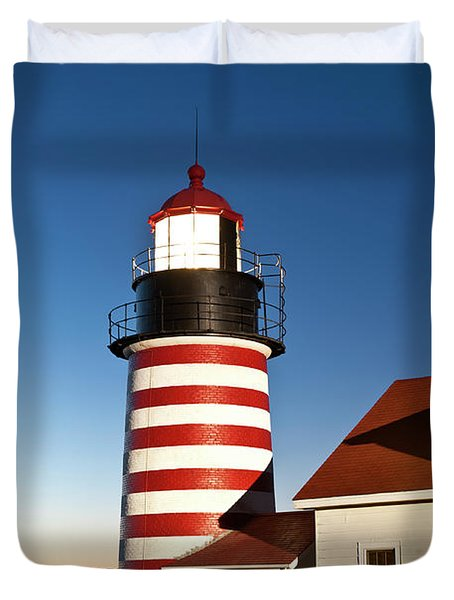 West Quoddy Head Lighthouse Maine Duvet Cover by John Greim