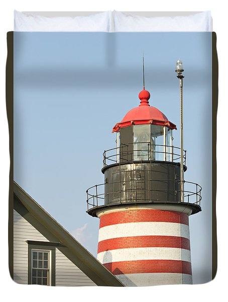 Duvet Cover featuring the photograph West Quoddy Head Lighthouse by Peter J Sucy