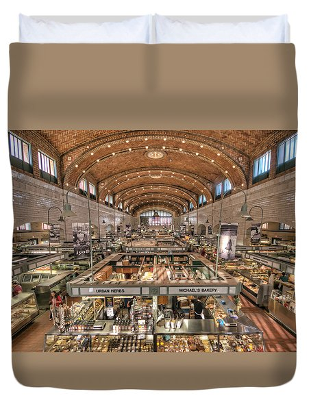 Duvet Cover featuring the photograph West Side Market by Brent Durken