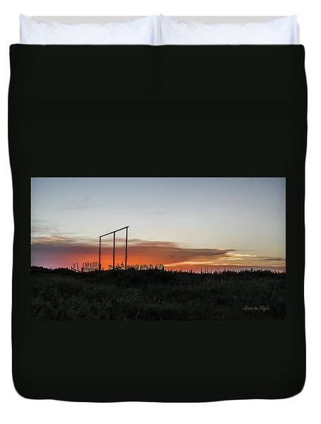Duvet Cover featuring the photograph West Texas Sunset by Karen Slagle