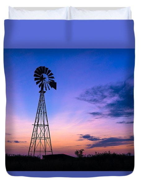 West Texas Windmill Duvet Cover