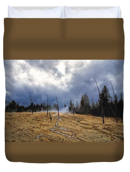 Duvet Cover featuring the photograph West Thumb Geyser Basin   by Lars Lentz