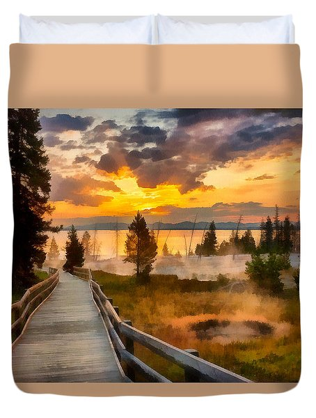 West Thumb Sunrise Duvet Cover