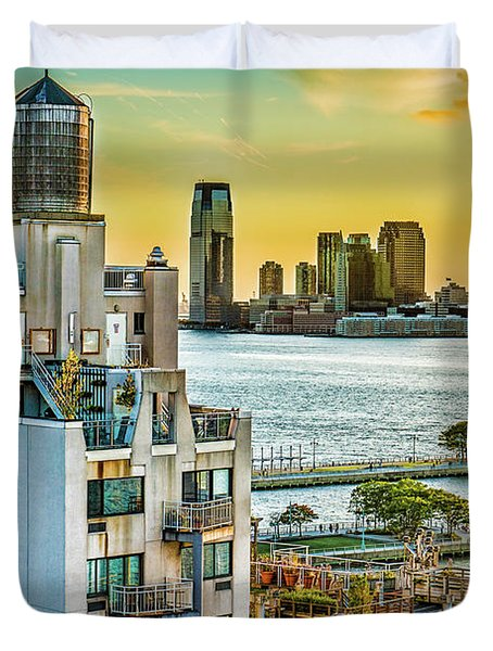 Duvet Cover featuring the photograph West Village To Jersey City Sunset by Chris Lord