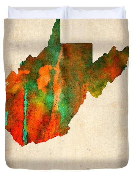 West Virginia Watercolor Map Duvet Cover