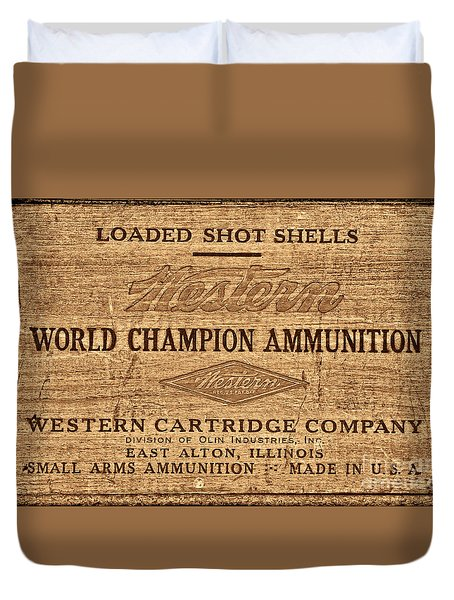 Western Ammunition Box Duvet Cover by American West Legend By Olivier Le Queinec
