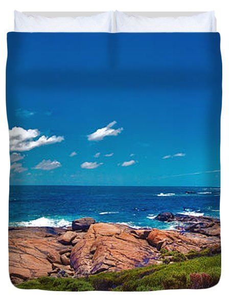 Duvet Cover featuring the photograph Western Australia Beach Panorama Margaret River by David Zanzinger