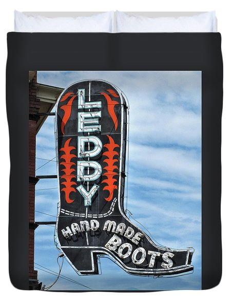 Duvet Cover featuring the photograph Western Boot Sign by David and Carol Kelly