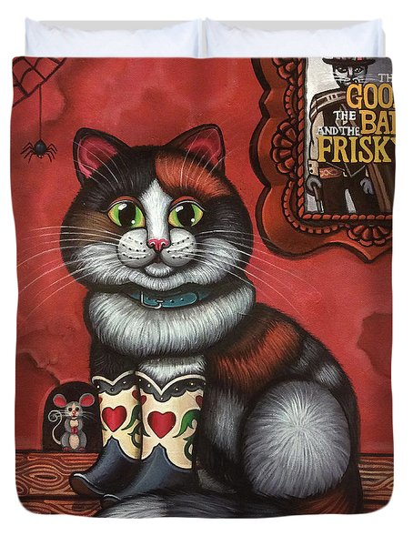Western Boots Cat Painting Duvet Cover
