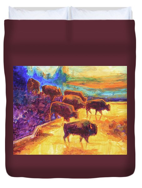 Western Buffalo Art Bison Creek Sunset Reflections Painting T Bertram Poole Duvet Cover