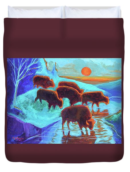 Western Buffalo Art Six Bison At Sunset Turquoise Painting Bertram Poole Duvet Cover