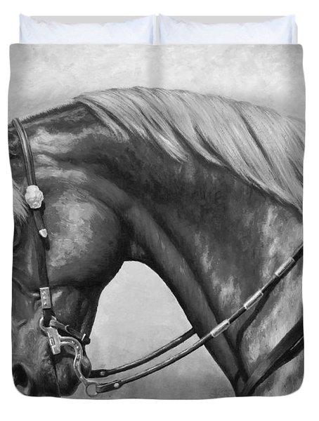 Western Horse Black And White Duvet Cover