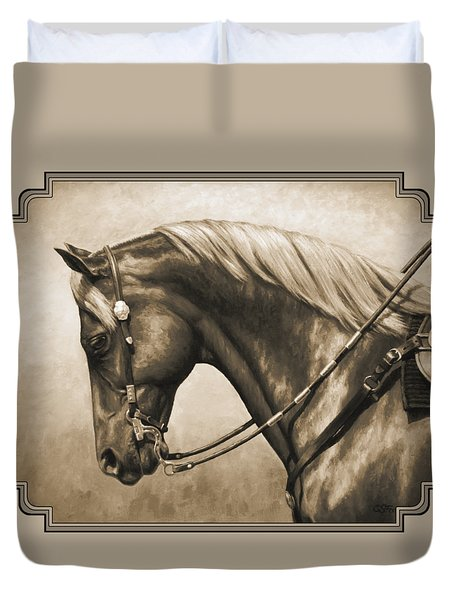 Western Horse Painting In Sepia Duvet Cover