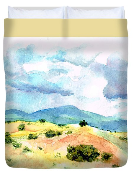 Duvet Cover featuring the painting Western Landscape by Andrew Gillette