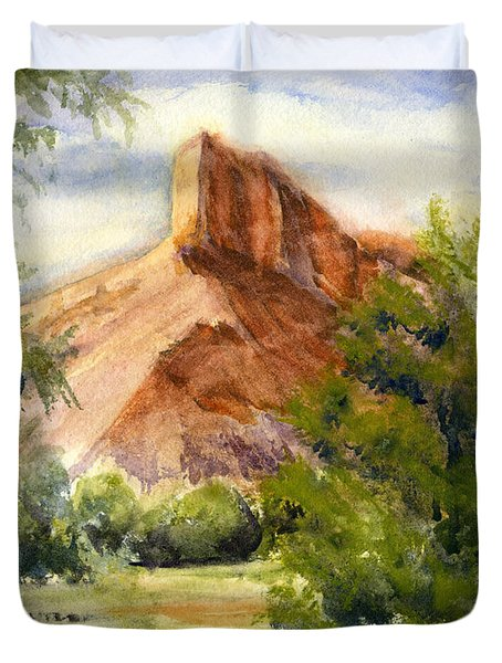 Western Landscape Watercolor Duvet Cover