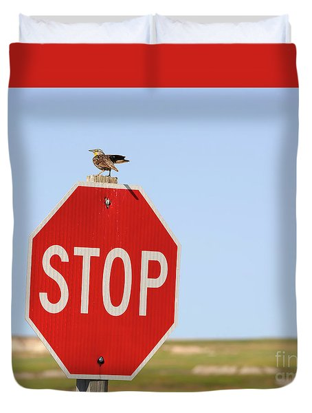 Western Meadowlark Singing On Top Of A Stop Sign Duvet Cover by Louise Heusinkveld