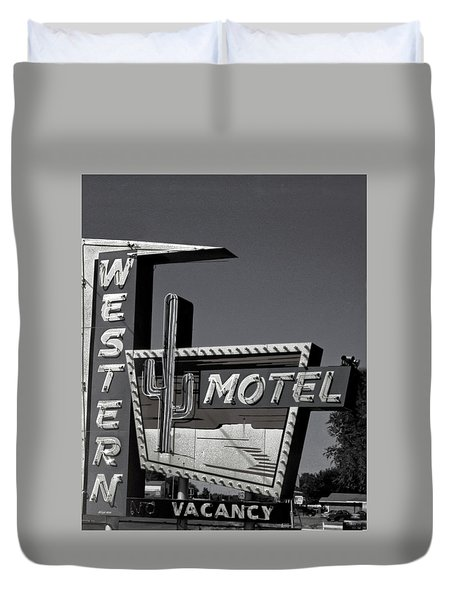 Duvet Cover featuring the photograph Western Motel In Black And White by Matthew Bamberg