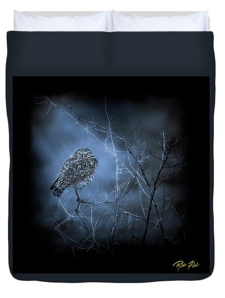 Duvet Cover featuring the photograph Western Owl Gloom by Rikk Flohr