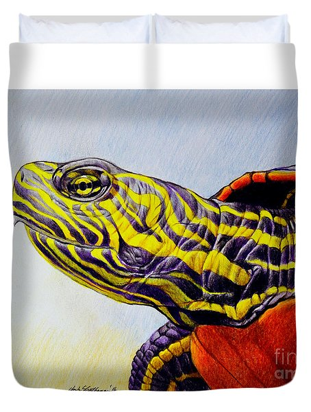 Western Painted Turtle Duvet Cover