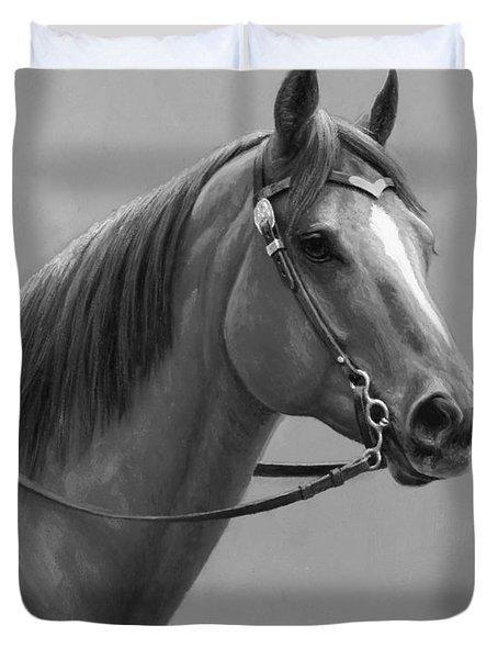 Western Quarter Horse Black And White Duvet Cover
