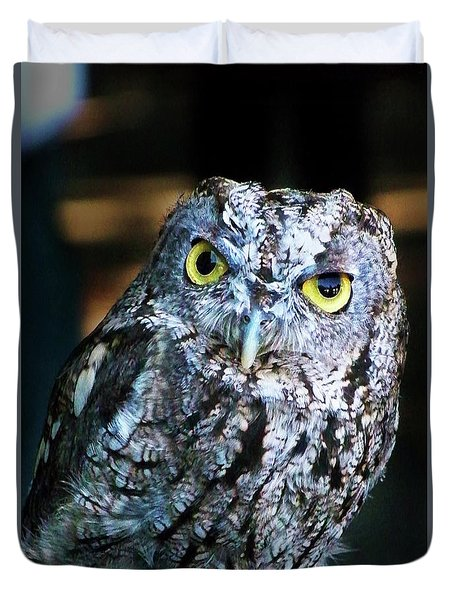 Duvet Cover featuring the photograph Western Screech Owl by Anthony Jones