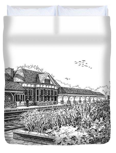 Western Springs Train Station Duvet Cover