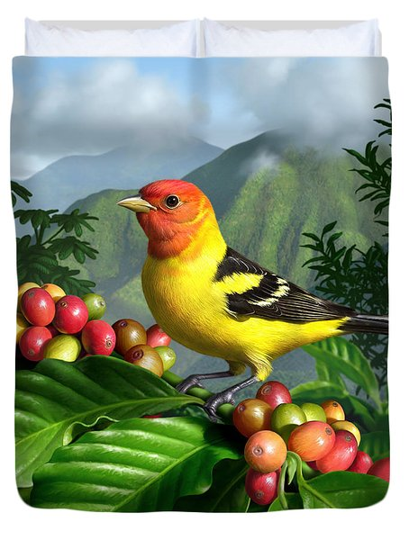 Western Tanager Duvet Cover by Jerry LoFaro